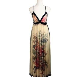 BEAUTIFUL Foley Floral Maxi Dress 100% Silk